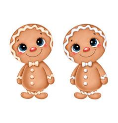 a cute cartoon christmas gingerbread man vector image