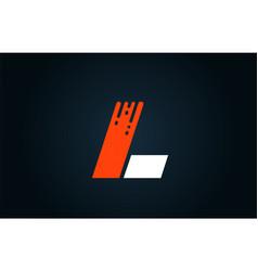 alphabet white orange blue letter logo l icon vector image