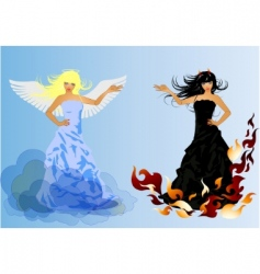 angel and devil retro woman vector image