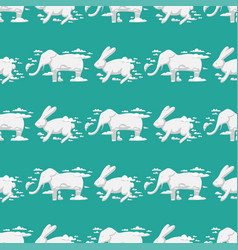 animal clouds silhouette rabbit seamless pattern vector image