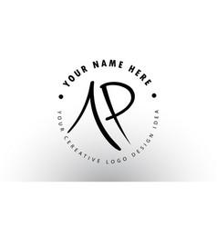 Ap handwritten letters logo design with circular vector
