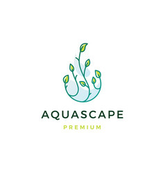 Aquascape leaf tree water drop logo icon vector