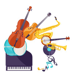 Background with musical instruments jazz music vector