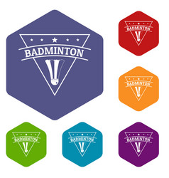 badminton icons hexahedron vector image