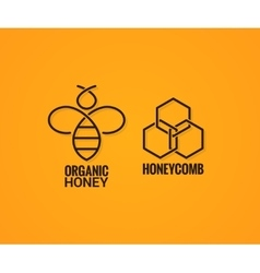 Bee logo and honeycombs label on yellow background vector