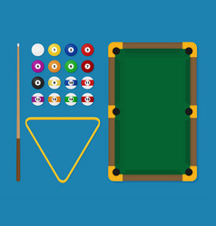 Billiards flat billiards pool game accessories vector