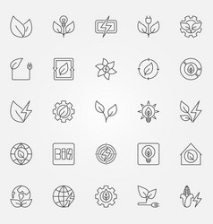 Bioenergy icons set vector