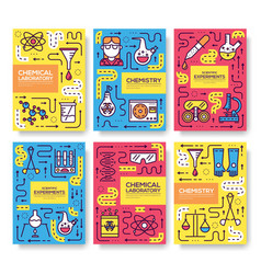 biohazard chemists thin line brochure card set vector image