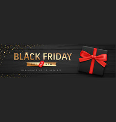 black friday sale black gift box and red ribbons vector image