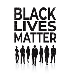Black lives matter banner people silhouette vector