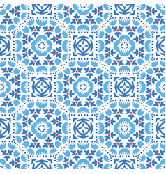 blue flower tile pattern boho ornament vector image vector image