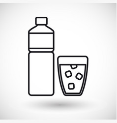 Bottle of water and glass thin line icon vector