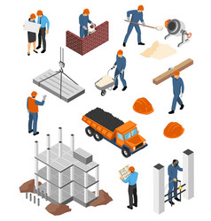 builders architects isometric set vector image