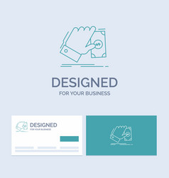 business hand money earn dollar business logo vector image
