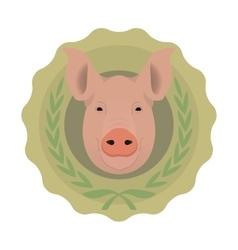 Butchery eco logo Pig in laurel wreath No vector