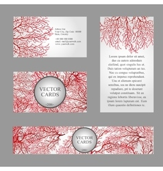 Cards with texture of red coral and sample text vector image