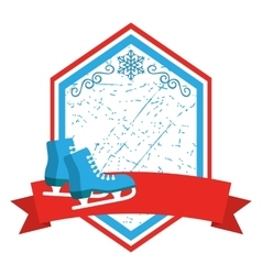 Christmas Winter Sport Label Icons Flat with vector image