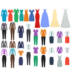 clothes for women in flat design vector image