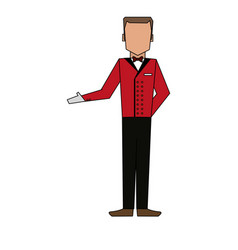 color image silhouette full body faceless bellboy vector image