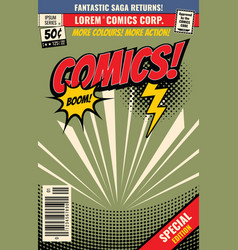 Comic book background with cartoon burst vector