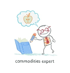 Commodities expert writes in book and thinking vector