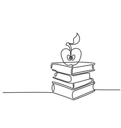continuous line drawing stack of books with apple vector image