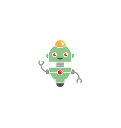 creative happy green robot logo vector image