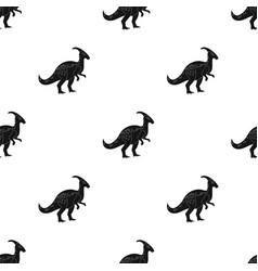 Dinosaur parasaurolophus icon in black style vector