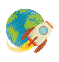 drawing earth world rocket flying space vector image vector image
