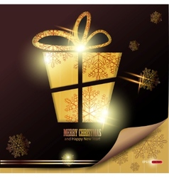 elegant winter background with gift and snowflakes vector image
