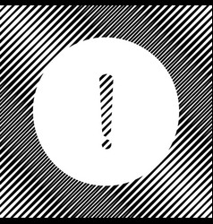 Exclamation mark sign icon hole in moire vector