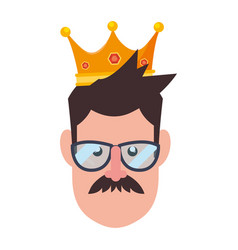 face man in glasses with crown vector image