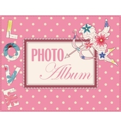Family weddng album cover vintage vector