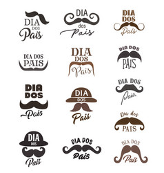 fathers day holiday icons with mustaches and hats vector image