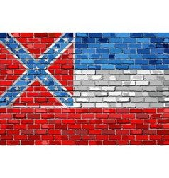 Flag of Mississippi on a brick wall vector