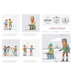 flat fishing infographic template vector image