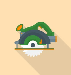 flat style electric hand circular saw icon with vector image