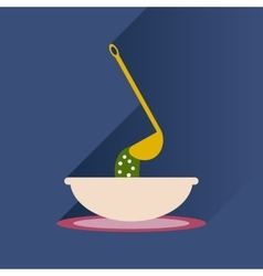 Flat with shadow icon plate soup ladle vector
