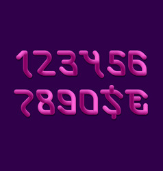 Flexible pink gradient 3d numbers and currency vector