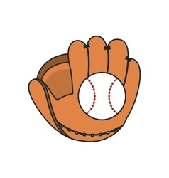 Glove and ball of baseball sport design vector