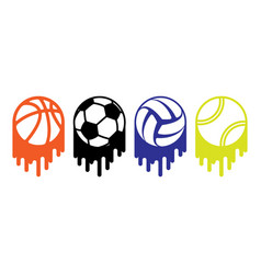 gray sport balls set vector image