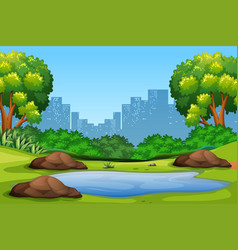 Green nature park background vector