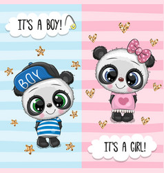 Greeting card with cute pandas boy and girl vector