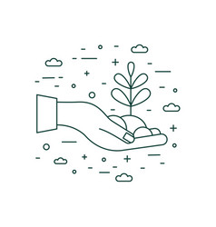 hand holding plant icon in line art vector image