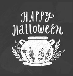 happy halloween chalk style vector image