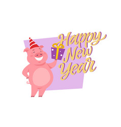 Happy new year - modern cartoon character vector