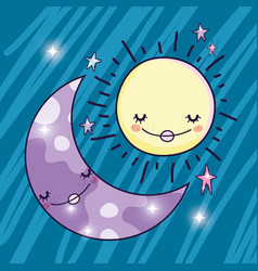 Happy sun and cute moon and stars vector