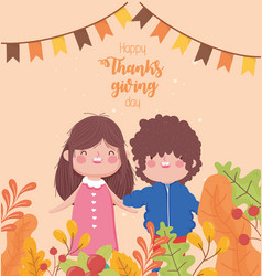 Happy thanksgiving day cute girl and boy garland vector