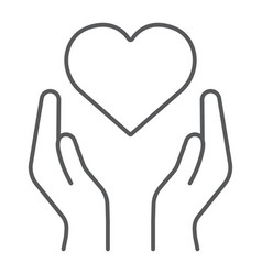 heart in hands thin line icon love and care arms vector image