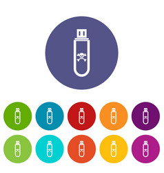 Infected usb flash drive set icons vector
